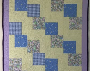 Handmade Quilt gift custom quilted baby toddler child crib lap quilt wall hanging decor free shipping