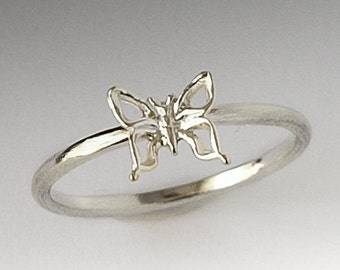 Cute Sterling Silver Butterfly Ring, Butterfly Ring Silver, Silver Ring, Butterfly Ring, Gift for Her, Stack Ring, Butterfly Jewelry