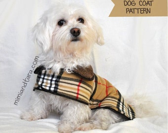 Dog Coat Pattern size XS, Sewing Pattern, Dog Clothes Pattern, Dog Coats