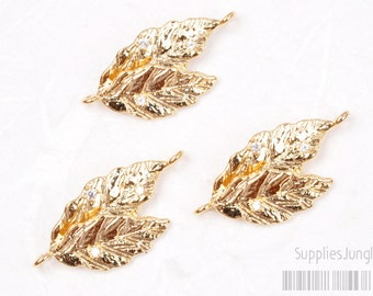 P426-GG// Glossy Gold Plated Cz Leaf Connector, 2pcs