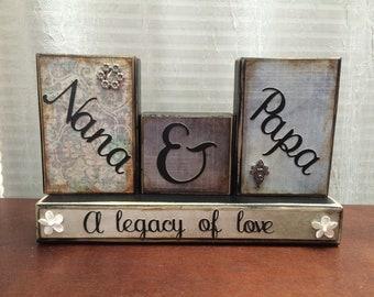 Nana & Papa Wood Blocks Grandparents Love Treasures Birthday Gift Family Legacy