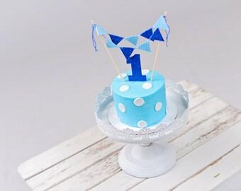 Polka dot cake topper, blue cake topper, boy cake topper, smash cake topper, blue cake banner, blue cake flags