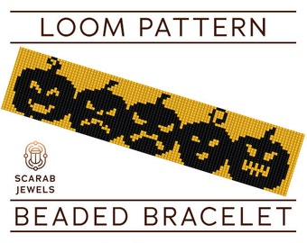 Halloween Pumpkins Pattern | Loom Beading Bracelet | Cuff Bead Pattern | Miyuki Delica | PDF Instant Download