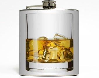 On The Rocks Glass of Whiskey Flask Liquor Bachelor Party Men Guys Birthday Groomsmen Gift - Stainless Steel 6 oz Alcohol Hip Flask LC-1030