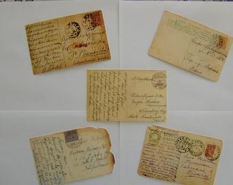 Cards postcards vintage (5 pieces)