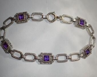 14K White Gold ~ Art Deco Filigree ~ Etched Superior Quality Amethyst Bracelet