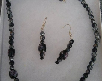 Black beaded Neclace and Earring Set