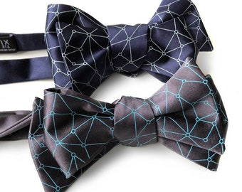 Blockchain Crypto Bow Tie, Decentralized Distributed Network Visualization Men's Tie. Geometric Bow Tie Cryptocurrency Bitcoin Ethereum Eos