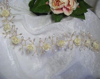Bridal hair vine roses and pearls