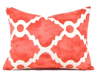 Lumbar Pillow Cover ANY SIZE Decorative Pillow Cover Coral Pillow Premier Prints Madrid Salmon