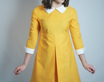 1960's Reproduction Mod Dress, Suzy Bishop style, sunflower yellow and white polkadot, contrast Peter Pan collar and cuffs