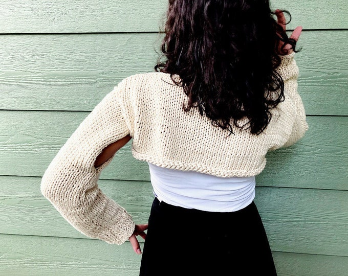 Featured listing image: Crop sweater, beige Accessories, long sleeve sweater , handmade sweater , fall fashion, gift for Mom , gift for teen, scarves and wraps