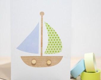 Pastel Sail Boat Card
