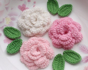 3 Crochet  Flowers (Roses) With Leaves YH - 142-05