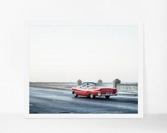 Cuba Photography, Red Classic Car in Havana Fine Art Print, Cuba Art, Modern Home Decor, Large Wall Art, Custom Size Available