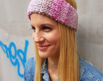 Crochet headband, snow cable knit winter headband, pink cable wool headband, cute wool knit thick ear warmer, warm cute knitted headband