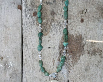 Green Turquoise Necklace with Faith Pendant