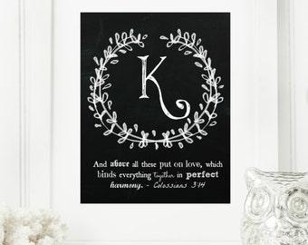 "Instant ""Family Monogram Scripture"" Chalkboard Wall Art Print 8x10 Typography Letter ""K"" Printable Home Decor"