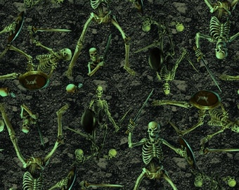 Fright Night Glow-In-The-Dark Skeletons Cotton Woven