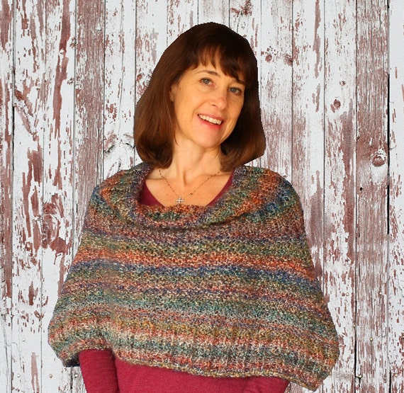 Knit Poncho Pattern Knitted Wrap Patterns Easy Knit Cape