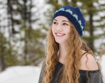 Scalops Hat // Hand Spun // Blue // Toque // Winter Hat // Gifts for Her //  Wool Hat // Wool Beanie // Merino Wool // Hand Knit //