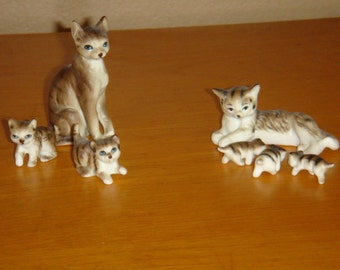 Vintage Miniature Tabby Cat Family with Kittens Figurines
