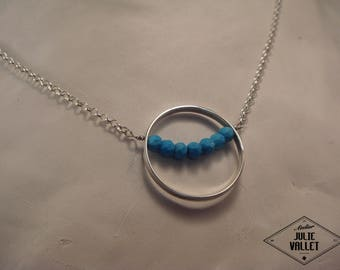 """Necklace in 925 thousandths """"rimmed Turquoise"""""""
