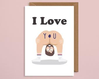 Valentines card.funny valentines card.valentines card handmade.rude valentine.valentines card for him.naked.bum.girlfriend.boyfriend.wife
