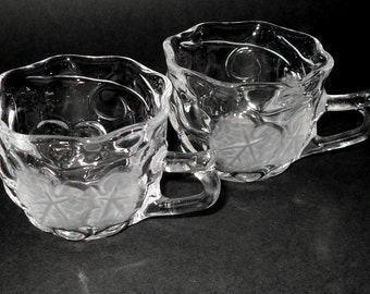 Pair of Vintage Glass Punch Cups With Grape Design