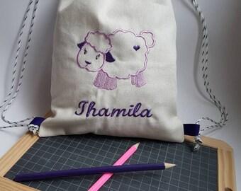Backpack style tote bag for customizable kindergarten - blanket - my little sheep - bag to order