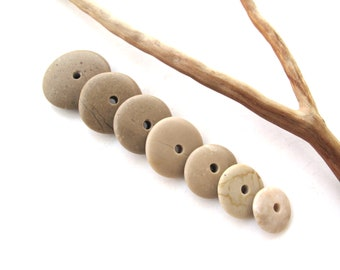 Natural Stone Cairn Mediterranean Beach Stone Stacks Pebble Rock Donut Beads River Stone Spacers TAN WHEELS 13-23 mm