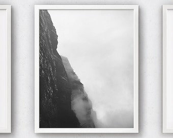 Nature Prints, Landscape Art, Black and White Photography, Black Home Decor, Posters and Prints, Climbing Poster, Gift for Men, Cliff, Photo