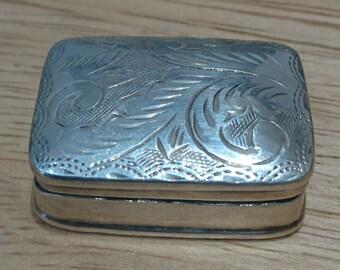 Small sterling silver hallmarked pill box