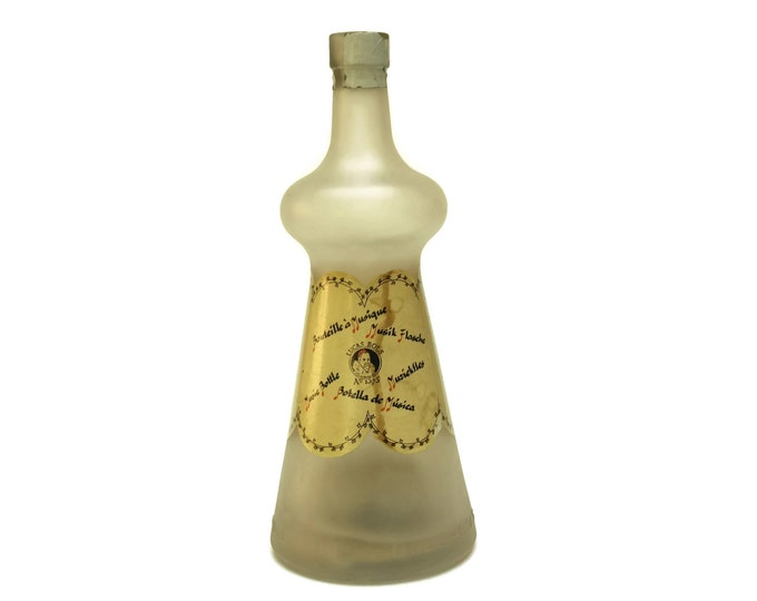 Vintage Bols Music Box Bottle. French Can Can Melody by Offenbach. Bols Liquor Frosted Glass Bottle. French Barware Decor.