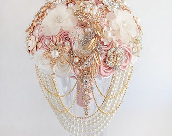 Gold Cascading pearl BROOCH BOUQUET Beads Wedding Bridal Broach Blush Pink Bridesmaids Rose Gold  Bouquet Blush