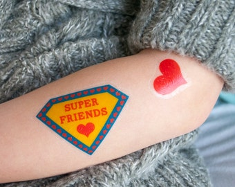 Super Friends tattoos / printable temporary tattoos for Valentine's Day - INSTANT DOWNLOAD