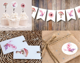 Woodland Printable Party MINI Kit | Woodland Party | Instant Download PDF | Banner | Stickers or Cupcake Toppers | Favor Tags | Celebrations