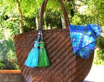 Schlüsselquaste Tür für Abdeckung, Juwel der Tasche Pompon blau, große Bommel für Korb, Pompom Tasche Schmuck Zubehör Meer Himmelblau, Sommer.