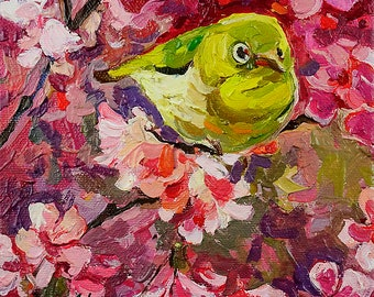 Japanese White Eye on the Blooming Cherry Tree #2. Original Oil Painting 6 x 6 inch on canvas
