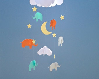 Baby Mobile - Elephant Hanging Baby Mobile/3D Paper Mobile/Nursery Mobile