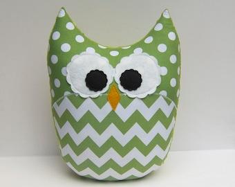 Large Chevron Owl Pillow Minky Green Jade Nursery Decor