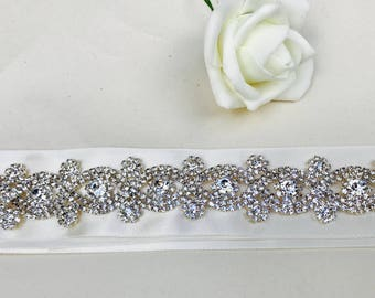Wedding belt, bridal belt, sash, wedding dress belt, rhinestone appliqué, wedding accessories, wedding dress accessories, bridal accessories