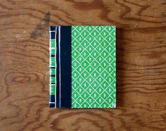 green vintage handmade journal // hard bound journal