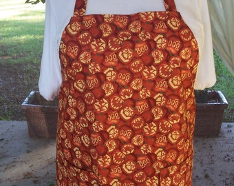 Plus Size Apron - Halloween Jack O Lanterns  - Pocket Apron - Kitchen Apron - Orange Pumpkins