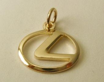 Genuine SOLID 9ct Yellow Gold LEXUS Sign Logo Car Motor Vehicle charm/pendant