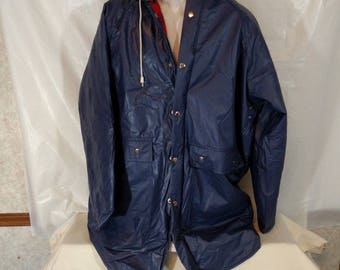 Thermalite Insulated Stadium Parka Hooded Rain Jacket Men Size M Blue by Rainskins Swell Wear