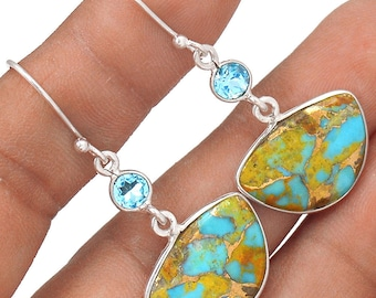 """Beautiful, Pilot Mountain Turquoise with Blue Topaz Accents. Sterling Silver Earrings. 1 3/4"""" Long. 9251"""