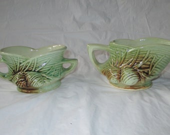 1940s McCoy PINE CONE Sugar Bowl & Creamer, Green with Brown Spray