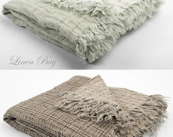 LINEN BLANKET with  FRINGES Light brown double-sided 100% linen blanket and Pure Linen Blanket in Pastel Green (mint) and off-whit