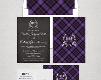 Scottish Tartan Chalkboard Wedding Invitation RSVP Set Purple Scottish Wedding UK wedding British wedding Scotland DEPOSIT Payment